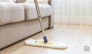 mopping floors to get rid of pet fur, dander, and pet odors
