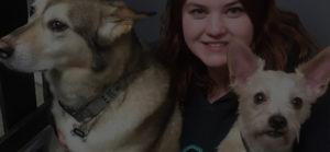 Pet studies graduate Melody Mason with 2 dogs