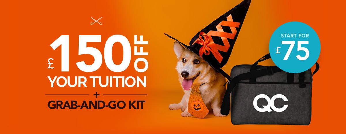 Dog in costume with bonus QC Tote Bag UK Offer